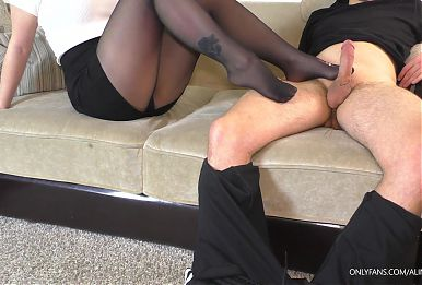 Teen School Teacher in Black Pantyhose Footjob and Handjob